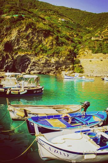 Vernazza, Cinque Terre, Italia #boat #italy #cinqueterre #bluesea #travelphotography Water Nautical Vessel First Eyeem Photo