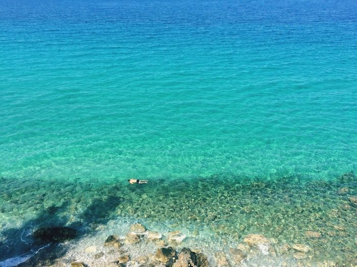 High angle view of man swimming in turquoise sea