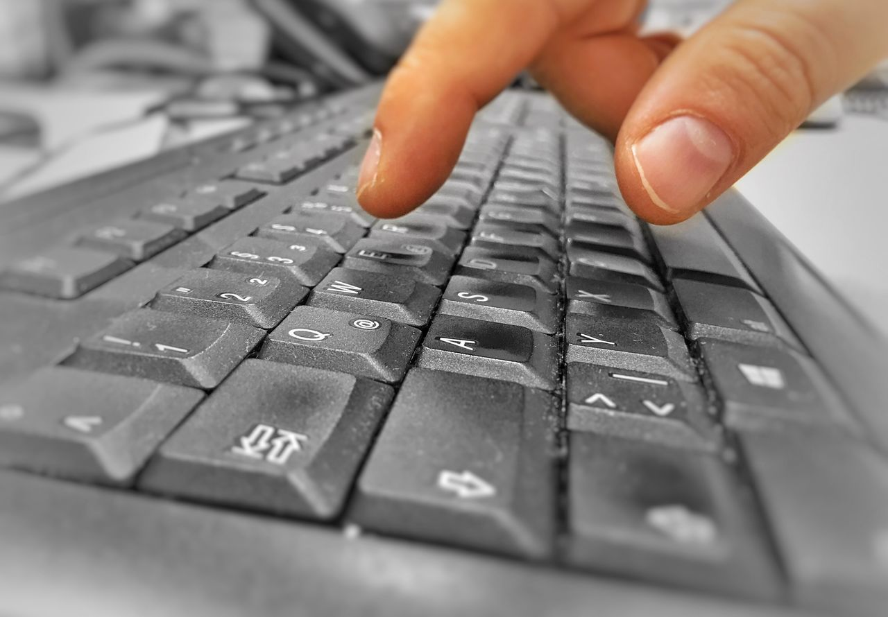 human hand, human body part, human finger, computer keyboard, one person, selective focus, real people, technology, computer key, close-up, indoors, touching, keyboard, day, people
