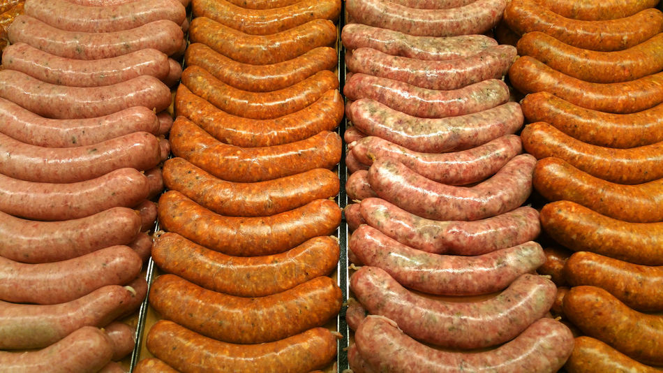 Fresh bratwurst and sausage at the butcher Arrangement Brat Brown Choice Circle Close-up Culture Design Detail Directly Above Food Food And Drink Food Photography Foodphotography Fresh Full Frame Geometry Indoors  Meat Metal No People Order Pattern Sausage Still Life