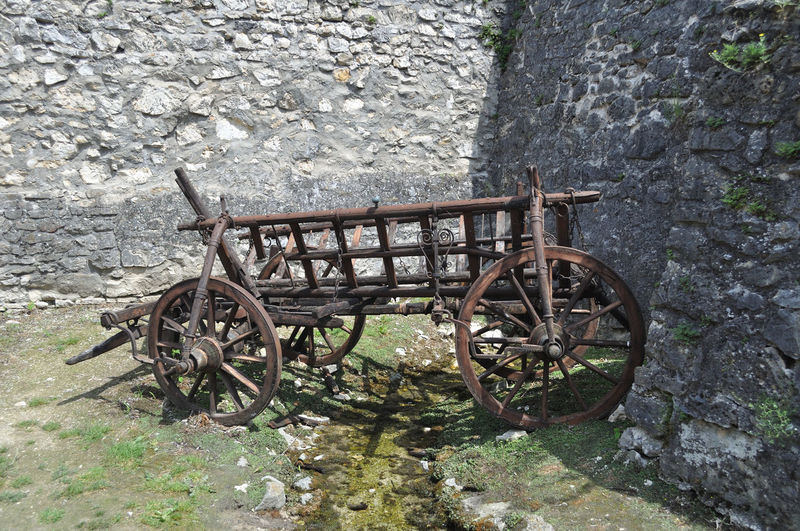 Cart Day No People Old Outdoors Stone Wall Transportation Wheel