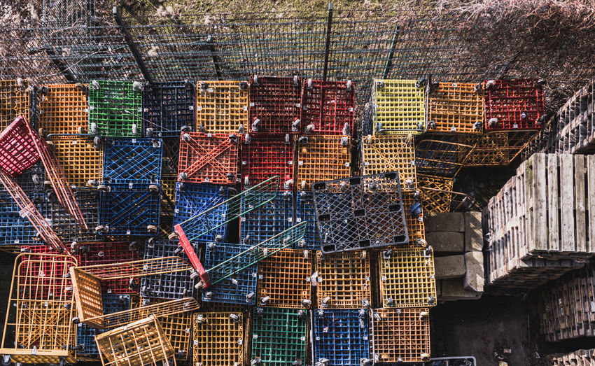 Abundance Architecture Arrangement Art And Craft Basket Brick Built Structure Choice Container Crate Day For Sale Hanging Large Group Of Objects Low Angle View Market No People Outdoors Stack Variation Wood - Material