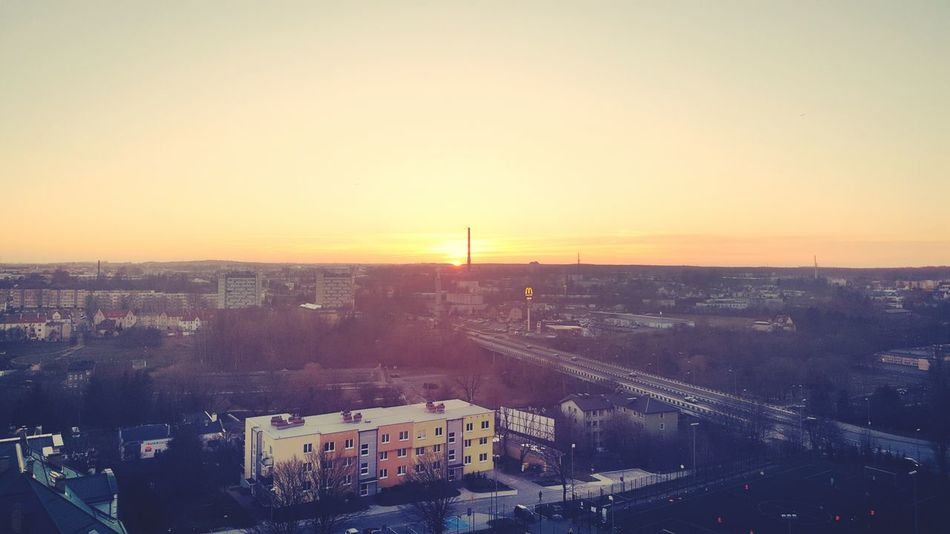 Sunset City Cityscape High Angle View Urban Skyline Architecture Sky Sun Nature Day View From The Window... Macdonald's Aerial View New Flat