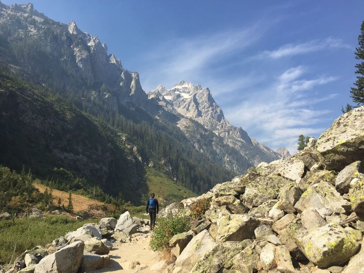 Hiking in the Tetons. Nature Hiking Outdoors Mountain Exploration Backpack One Person Mountain Range Lost In The Landscape