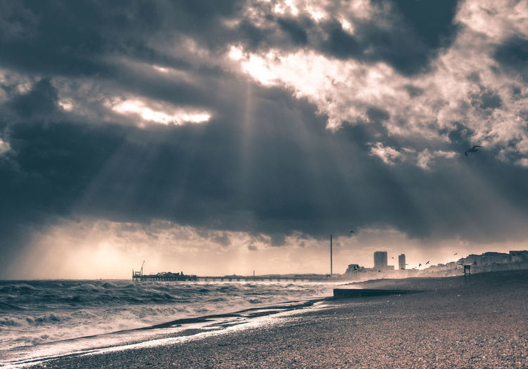 Beach Beauty In Nature Cloud - Sky Dramatic Sky Horizon Horizon Over Water Land Nature No People Outdoors Power In Nature Scenics - Nature Sea Sky Storm Sunbeam Sunset Tranquil Scene Tranquility Water Wave