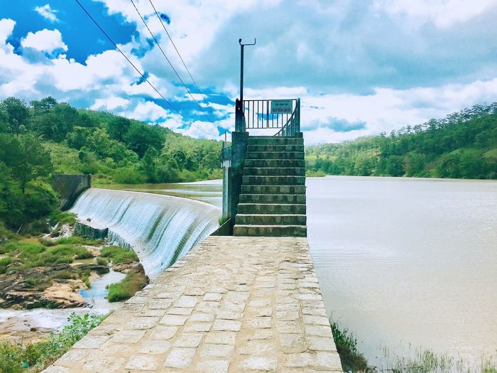 What a nice dam Anchobi Amazing View Flat Water Nice Dam EyeEm Nature Lover Travel Destinations Travel Photography EyeEmNewHere Eyeemphotography Tree Plant Sky Cloud - Sky Nature Day Architecture No People Water Footpath Beauty In Nature Green Color Scenics - Nature