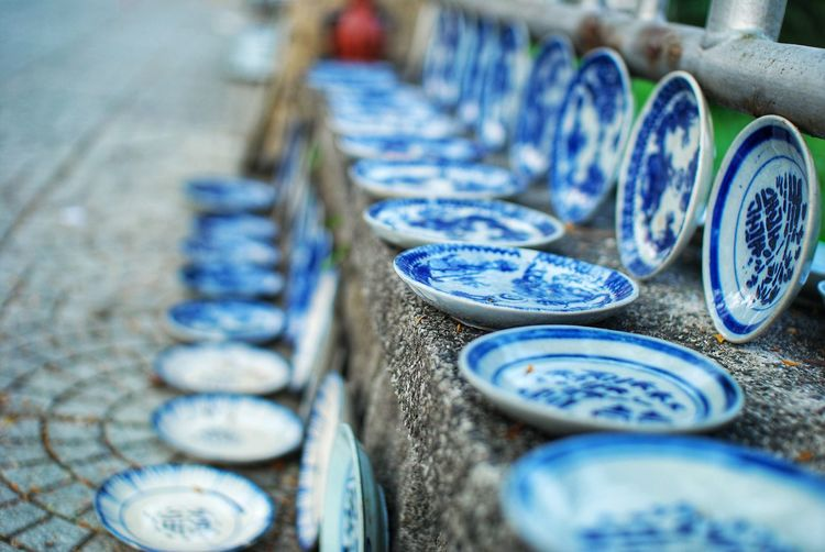 Blue plates for sale at market