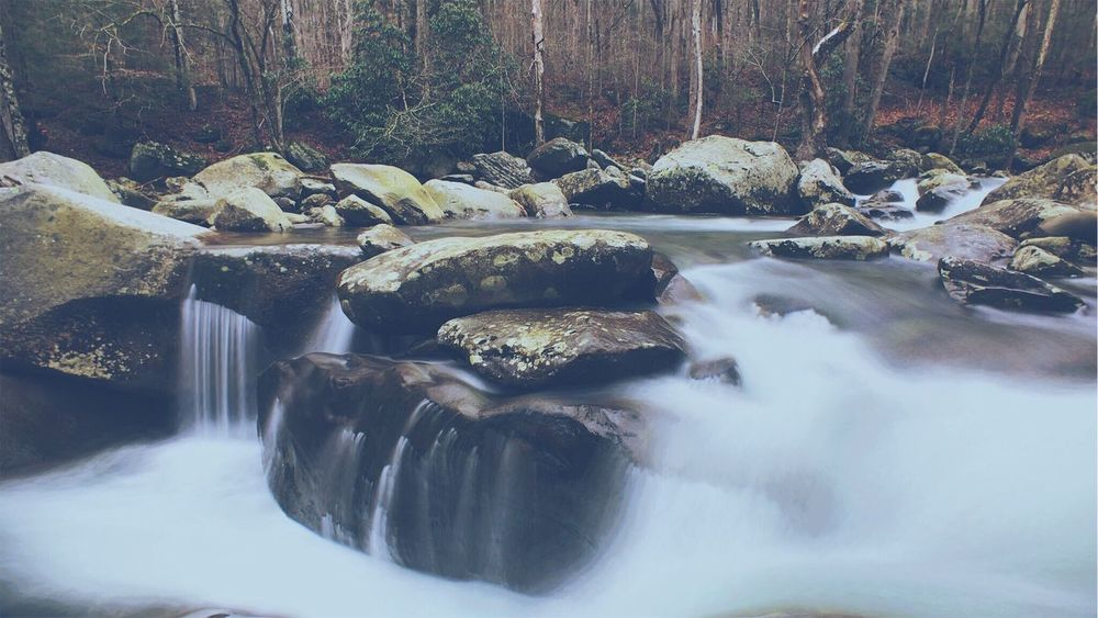EyeEm Selects Momentwidelens ShotoniPhone6s Long Exposure Tranquility Nature Water Beauty In Nature Rock - Object Motion No People Waterfall Outdoors Day Scenics Tree Winter Vscox The Week On EyeEm Moment Lens