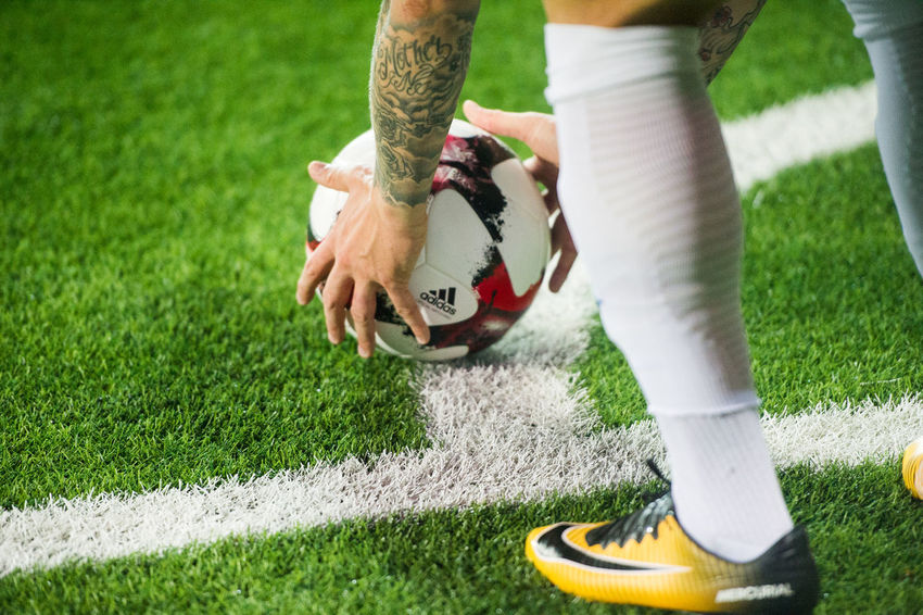 Football Ball Body Part Corner Kick England Football Grass Green Color Human Body Part Human Leg Human Limb Kieran Trippier Leisure Activity Low Section One Person Outdoors Playing Real People Shoe Soccer Sport Team Sport World Cup 2018