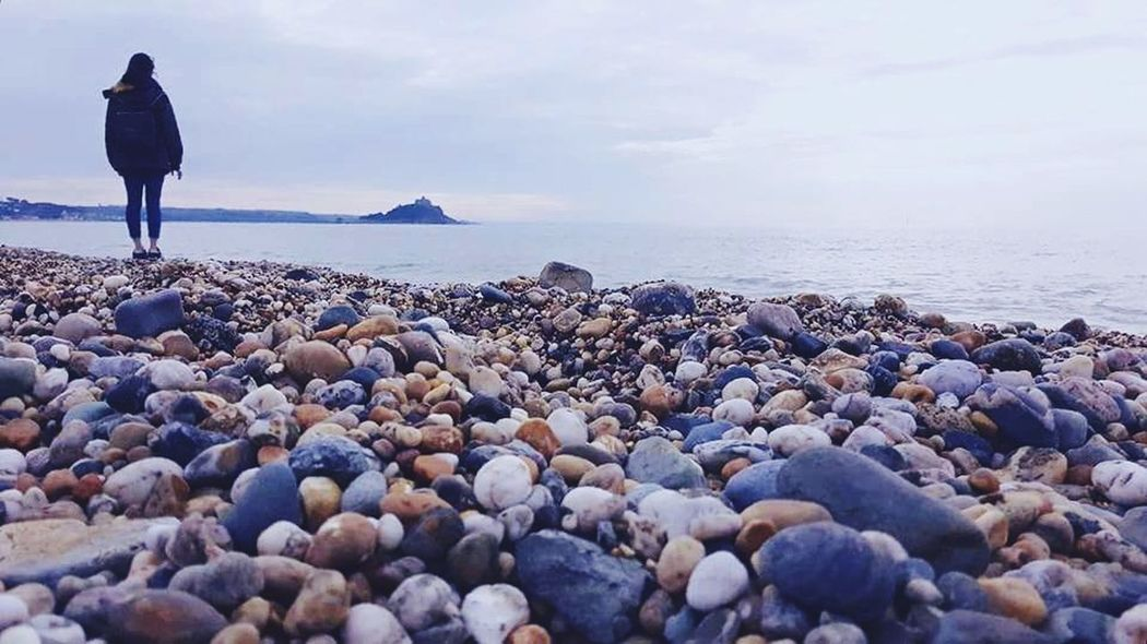 Beach Pebble Horizon Over Water One Person Outdoors Cloud - Sky Scenics Water Thinking About Life