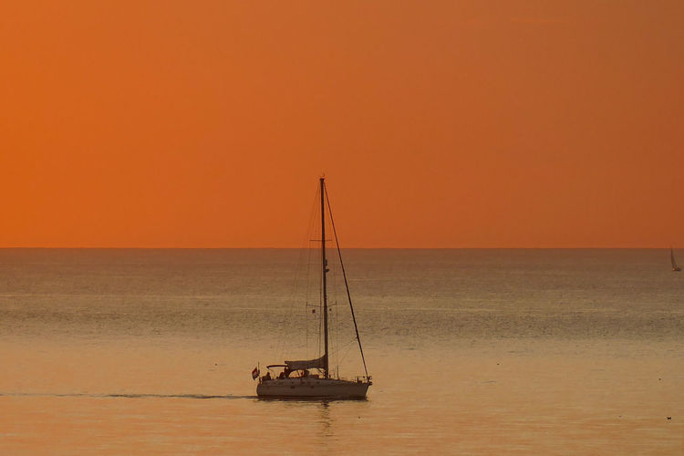 Dieppe Normandie Dieppe France Normandie Normandie, France Sunset Sunset_collection Orange Color Orange Sky Sea And Sky Seascape Water Sea Sunset Horizon Silhouette Sailing Ship Sailboat Sailing Sailing Boat