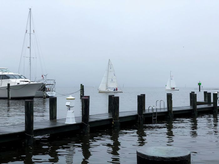 Foggy Sailing IPhoneography Water Sky Nature Day Sea Post Nautical Vessel Pier