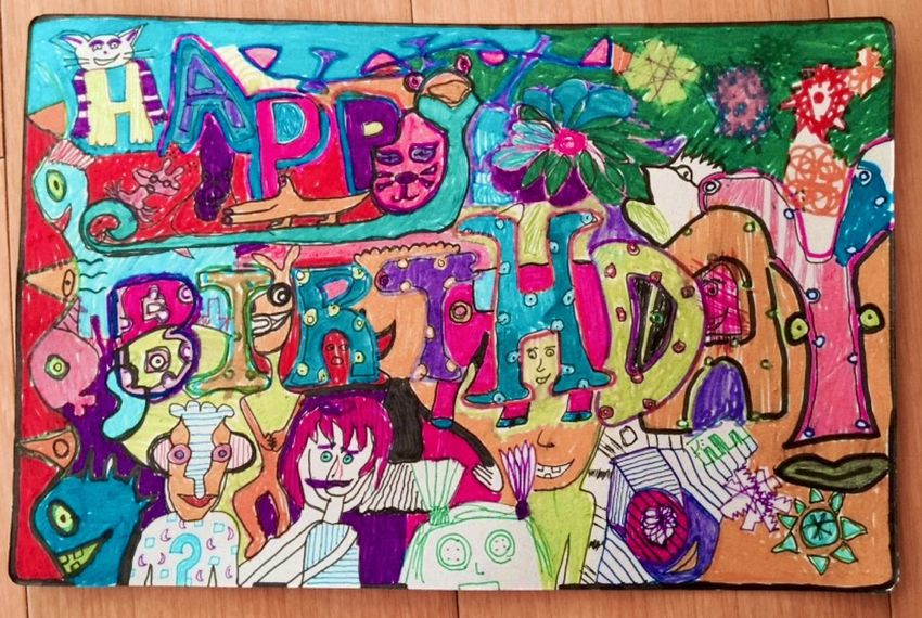 ..happy bday card for cici's auntie we drew Art Art, Drawing, Creativity Emography Portrait