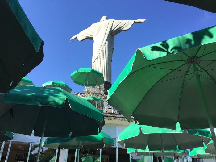 Neighborhood Map Cristo Redentor-Río De Janeiro Low Angle View Outdoors Green Color Religion Umbrellas This Is Latin America
