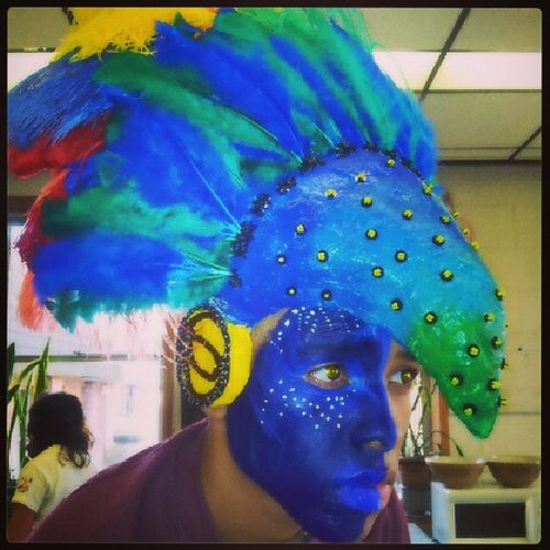 Finished Higher Artpiece 2012 Avatar tribal igers tbt instagramhub picoftheday follow iphonesia bestoftheday blue green red yellow feathers exotic facepaint yelloweyes beak helmet