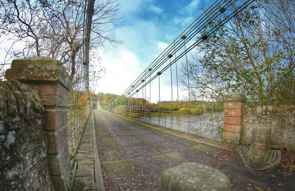 old suspension bridge still in use Scottish Borders and Northumberland
