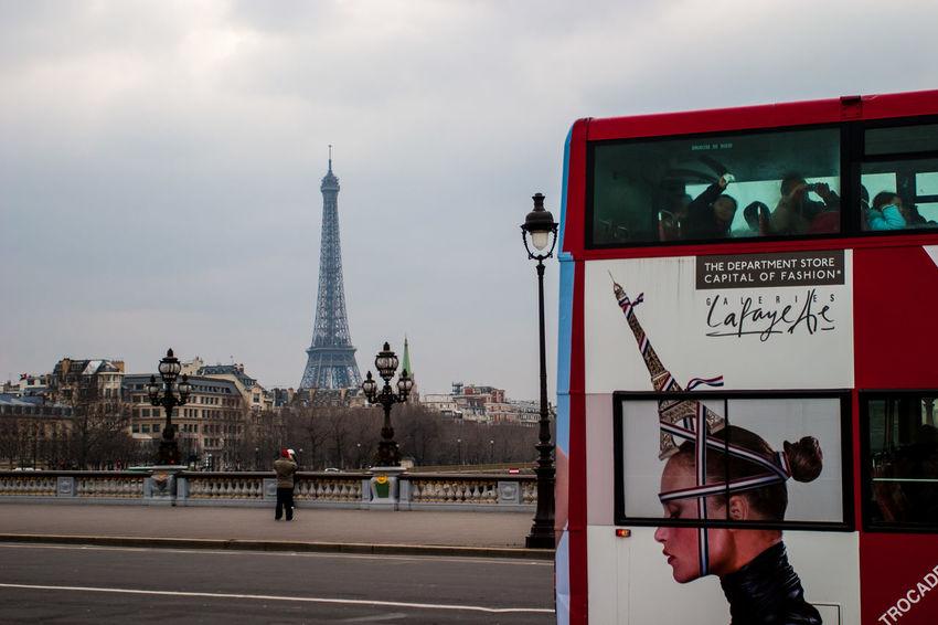 Bridge Bus Eiffel Tower Famous Place History Paris, France  Pont Alexander III Publicity Tourism