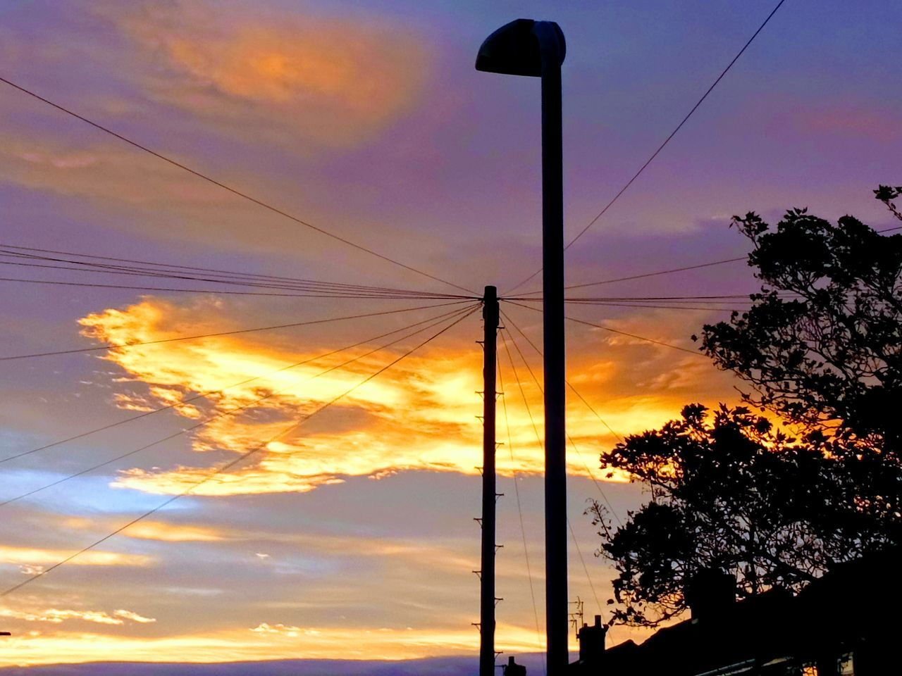 sky, sunset, silhouette, cloud - sky, tree, cable, orange color, plant, beauty in nature, power line, electricity, no people, low angle view, nature, connection, scenics - nature, tranquility, outdoors, technology, power supply, telephone line