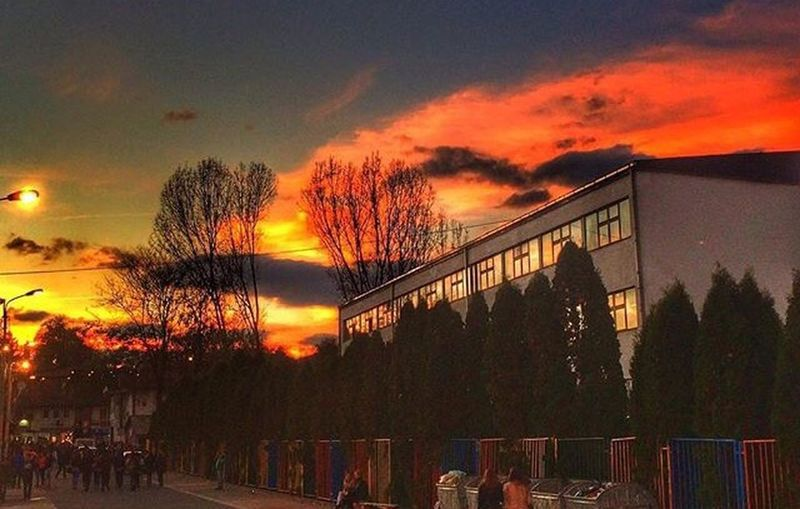 Sunset Sky Outdoors Built Structure Real People Cloud - Sky Building Exterior Nature Architecture Beauty In Nature Tree Day School Gimnazija Novi Pazar Long Goodbye Long Goodbye Break The Mold Art Is Everywhere