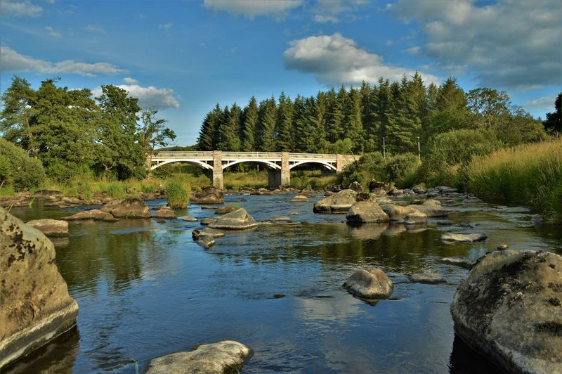 Rothiemay Bridge River River Deveron Trees Sky Cloud - Sky Reflection Rocks Summer Water Nature Arch Outdoors