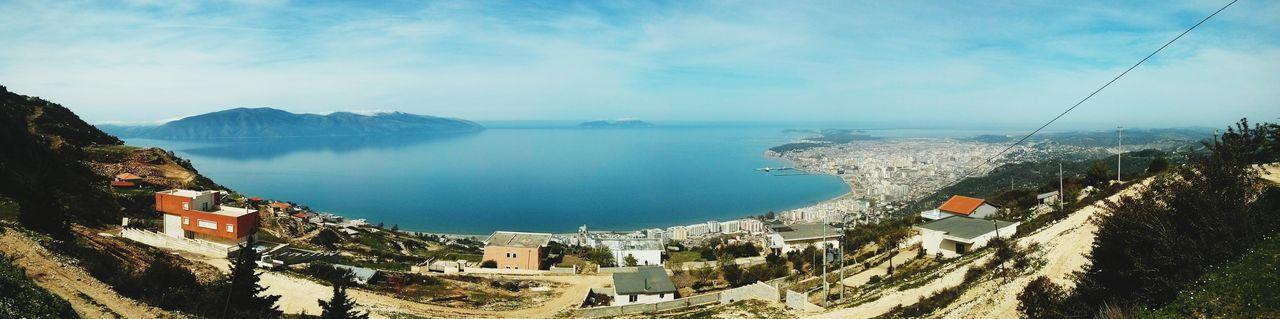 Vlora Bay Panorama Water Sea Nature Outdoors Sky Vacations Mountain Day Scenics No People Horizon Over Water Beauty In Nature Tree Vlora ALBANIA❤️ Ionian Sea EyeEmNewHere