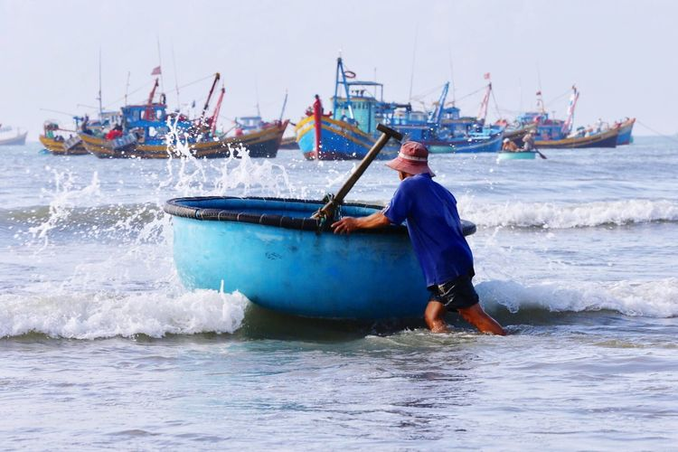 Fishermen's Life Fisherman Boat Nautical Vessel Real People One Person Transportation Sea Day Full Length Men Water Lifestyles Outdoors Fisherman Occupation Nature Sky Adult People Adults Only