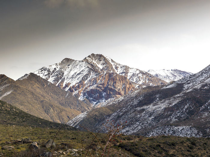 View of the andes mountains un winter