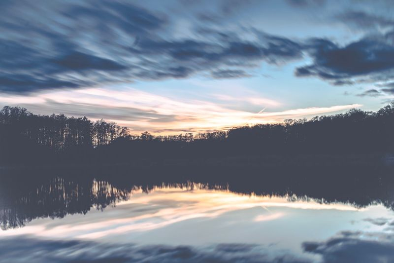 Awesome sunset lights the lake in a very nice way! Sunset Scenics Sky Nature Cloud - Sky Idyllic Reflection Outdoors Tree Water Lake Landscape Silhouette Clouds And Sky No People Sun Sunlight Uckermark Boitzenburg