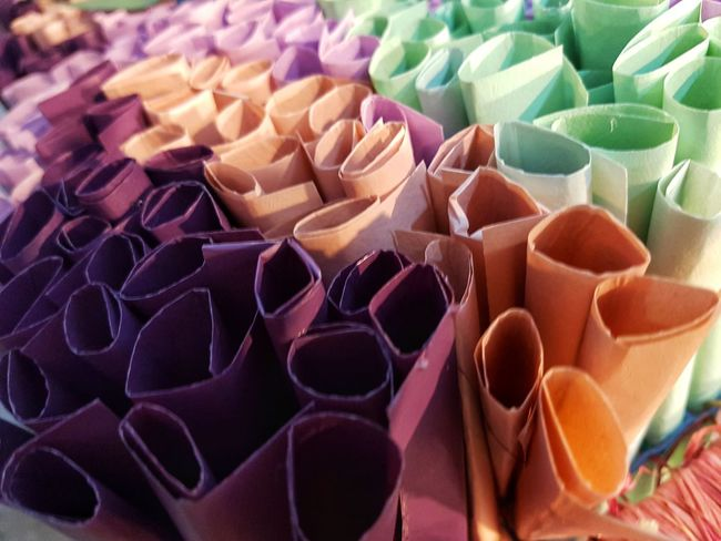 Close up colorful paper roll. Paper Roll Choice Full Frame Variation Close-up Colorful Multi Colored ArtWork Display