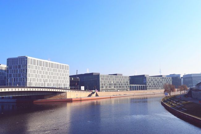 Architecture Built Structure Building Exterior Modern Copy Space Water City Reflection Clear Sky Waterfront Day Outdoors Blue Skyscraper No People Cityscape Sky Berlin Germany