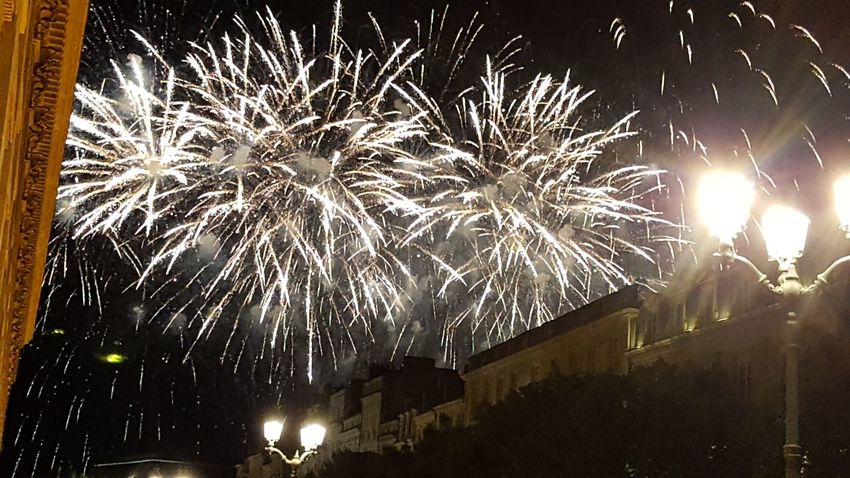 Night Firework Display Celebration Firework - Man Made Object Arts Culture And Entertainment Exploding Illuminated Low Angle View Event Outdoors Long Exposure No People Fête Nationale 14 Juillet 2017