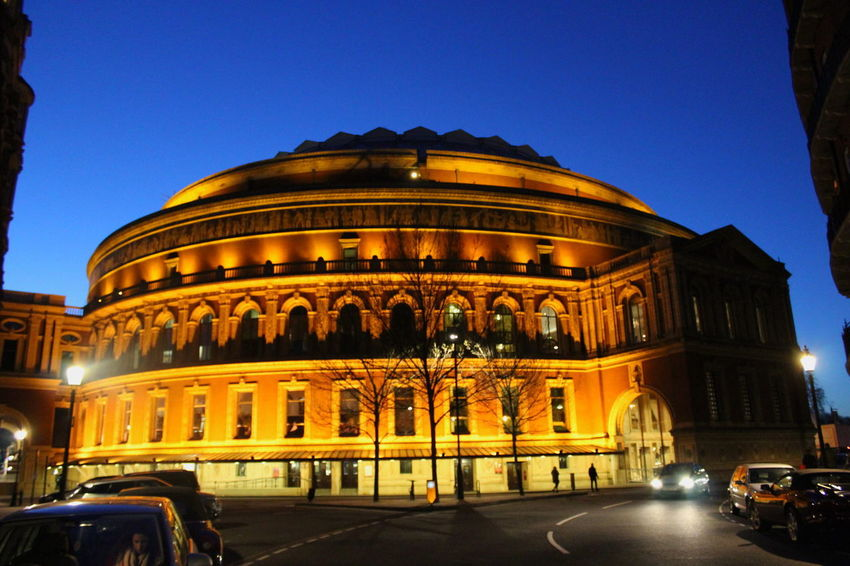 London Roayaly HiGH RoyalAlbertHall Theater Architecture Blue Building Exterior Buildings Architecture Built Structure Clear Sky England History Illuminated Land Vehicle Night No People Royalty Theatre Travel Destinations Uk