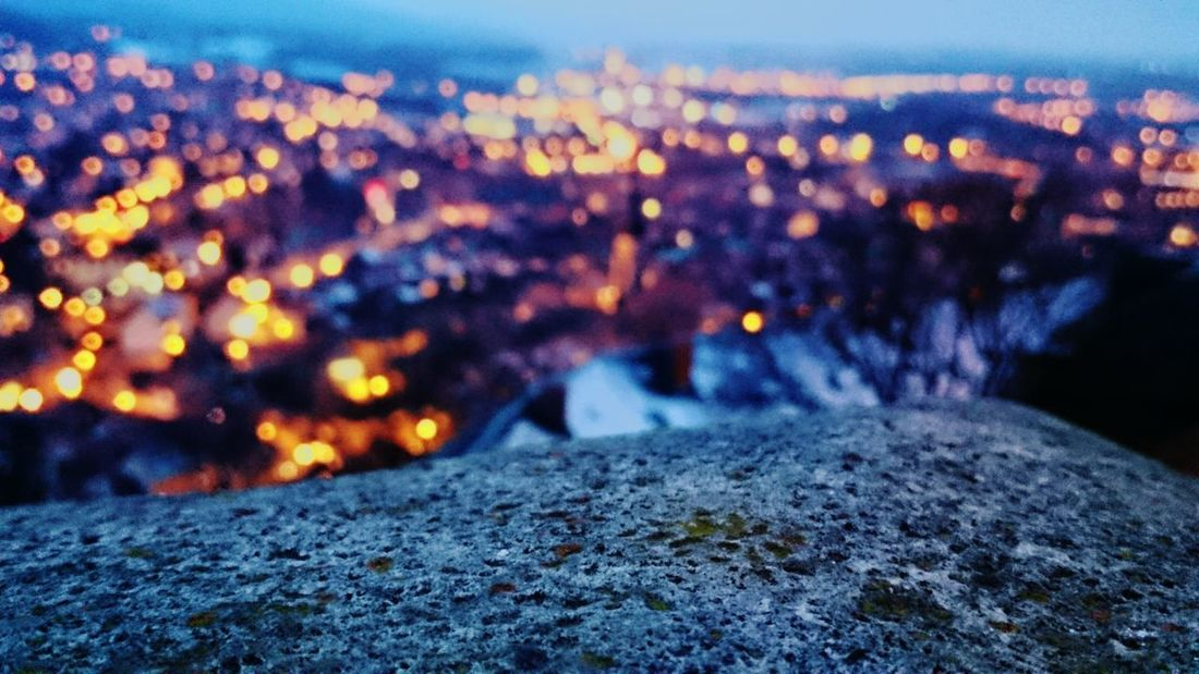 Dusk Night Lights Winter Night City Lights Cityscape View From The Top Blur Colorful Night City