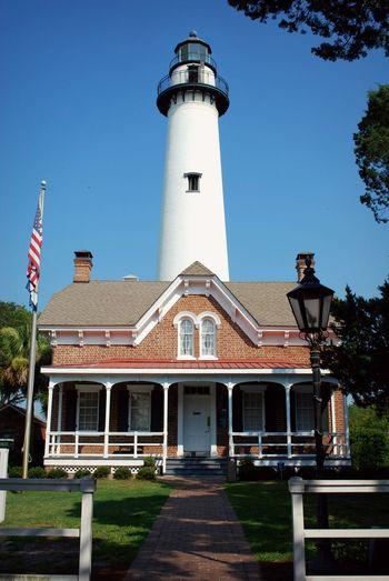 Saint Simons Lighthouse Architecture Building Exterior Clear Sky Day Lighthouse No People Saint Simons Island