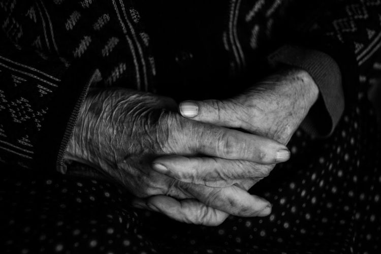 B&w Black&white Close-up Human Body Part Human Hand Monochrome Old Old Woman One Person People Woman Wrinkled