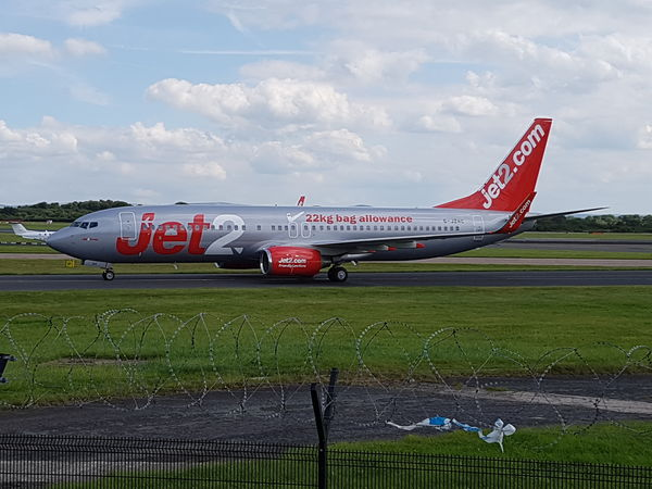 Jet2 plane just after landing at the Manchester Runway Visitor Park. Airplane Air Vehicle Airport Side View Airport Runway Outdoors No People Day