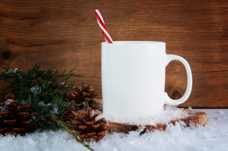 Holidays Candy Cane Christmas Christmas Decoration Close-up Cold Temperature Drink Hot Chocolate Mock Up Mug Mug Mockup Nature No People Snow White Color Winter