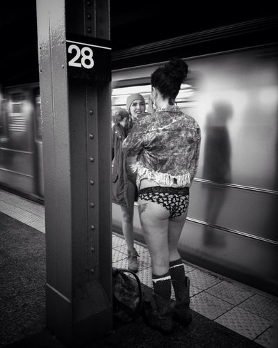 2016 NYC No Pants Subway Ride. IPS2016Street Hipstamatic IPhoneography Street Photography Streetphoto_bw Black And White Photography Blackandwhite Photography EyeEmBestPics New York ❤ EyeEm Best Shots - Black + White Street Life Eyemphotography Street Fashion