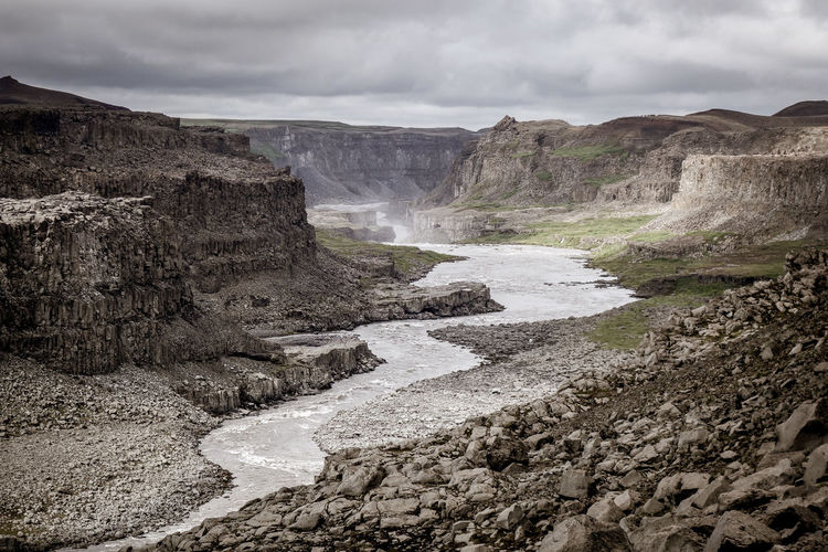 Selfoss river landscape. Iceland Iceland River View Beauty In Nature Environment Flowing Water Landscape Outdoors River Rock Scenics - Nature Selfoss Tranquility Water