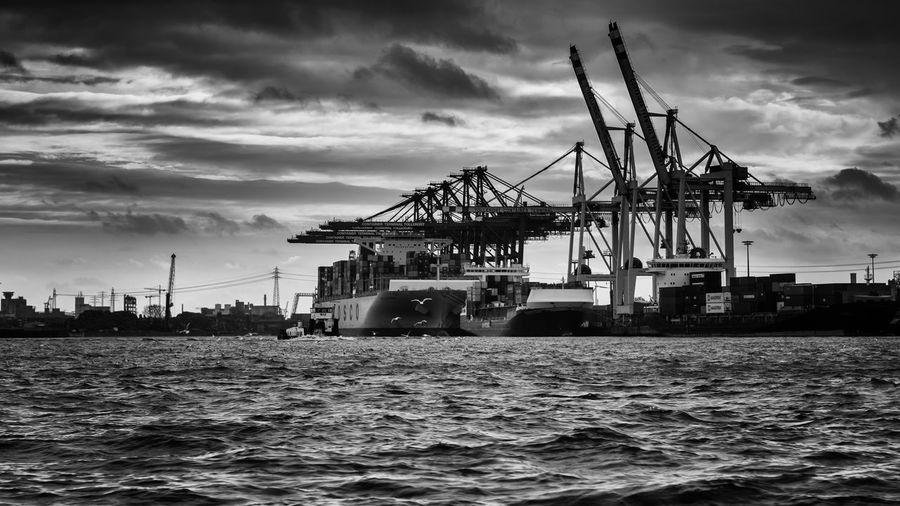 Hamburg Harbour Hamburger Hafen Black And White