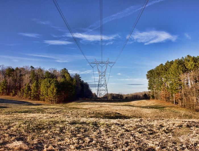 Transmission Tower Sky Tree Electricity  Landscape Power Supply Cable Fuel And Power Generation Connection Land No People Cloud - Sky Power Line  Field Day Outdoors Transmission Line Transmission Line Tower