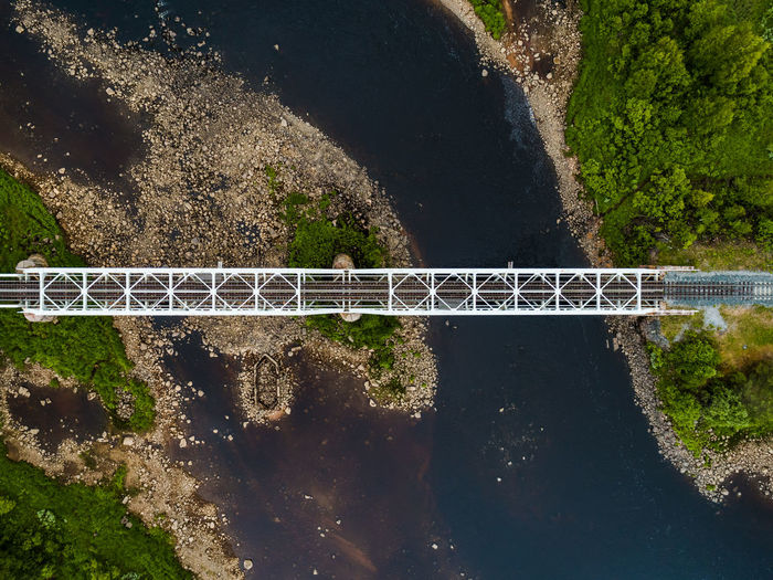 Steel railroad bridge over river in northern Finland seen from the sky straight up Autumn Forest Tree Trees Nature Landscape WoodLand Seasonal Fall Treeline Scenery Scenic View Natural Woods Road River Water Path Gravel Finland Mountain Fell Drone  Air Aerial Fly Over Lake Sky Narrow Summer Sunshine Bridge Lapland Railway Railroad Track Steel Hill Straight No People Connection Transportation High Angle View Built Structure Bridge - Man Made Structure Architecture Metal Outdoors