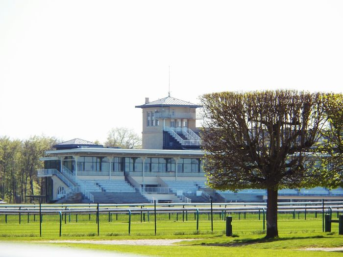 Architecture hippodrome and sunny day Chantilly Hippodrome City Tree Racecourse Hippodrome Tribunes Architecture Barriers Glass Frontage Hippodrome Tower No People Outdoor Path Way Sunny Day Tribune Built Structure Sky Building Exterior Building Day Tree Lawn Champs De Course Hippodrome De France Rennbahn In Chantilly, France
