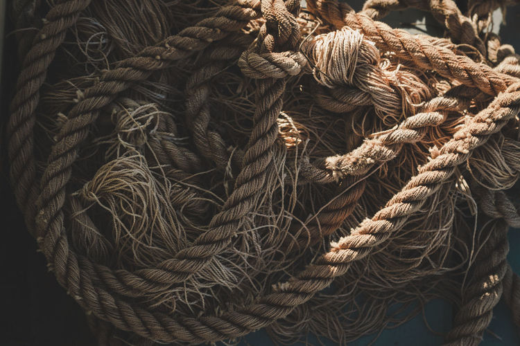 High angle view of old rope
