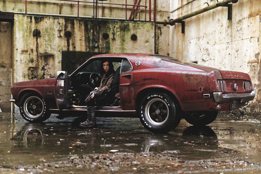 Its not about the girl or the gun, its about the car.... 69 Mustang Boss 302 Mustang Collector's Car Decay Dereleict Derelict & Abandoned Gun Mad Max Muscle Car Mustang One Person Outdoors Post Apocalyptic Rat Car Reflections In The Water Urbex Wet Women