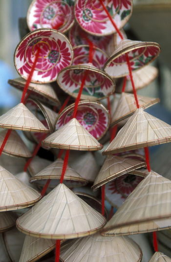 Close-up of asian style conical hat souvenirs
