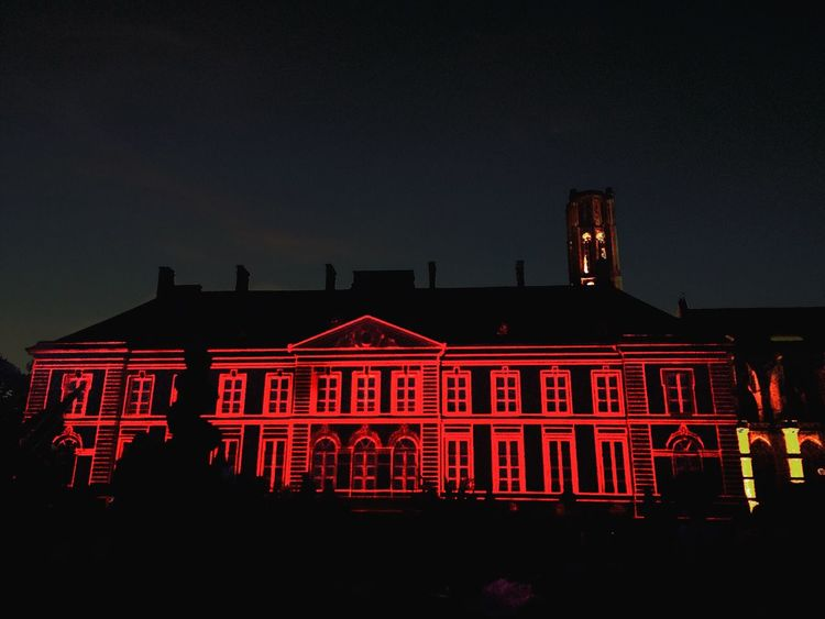 House Red Night Building Exterior Architecture Built Structure Illuminated Neon Neon Lights City Limoges Building Church Garden Neon Life