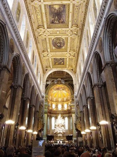 Religion Architecture Duomo Di Napoli San Gennaro Built Structure People Illuminated Spirituality