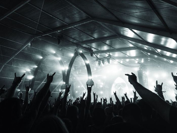 Rock on! Rock Metal Group Of People Enjoyment Crowd Performance Large Group Of People Music Audience Event Real People Nightlife Illuminated Popular Music Concert Fun