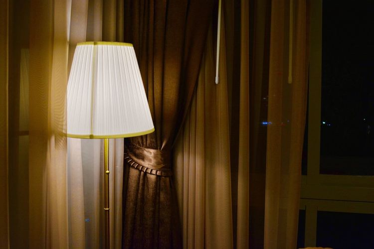 Curtain Drapes  Electric Lamp Hanging Home Interior Illuminated Indoors  Lamp Shade  Satin